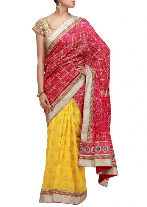 $162.00 A half half bandhani saree in pink and yellow with sequence border