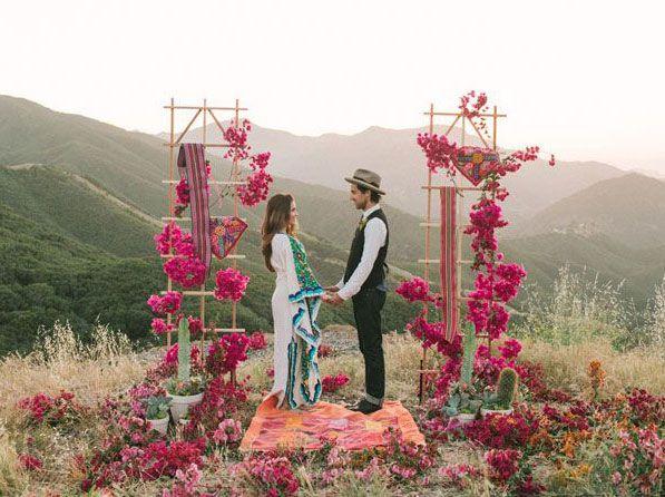 Bohemian/Hippie weddings began the outdoor wedding movement, from churches to free open fields, beaches, gardens, mountains etc. ~ E.A.