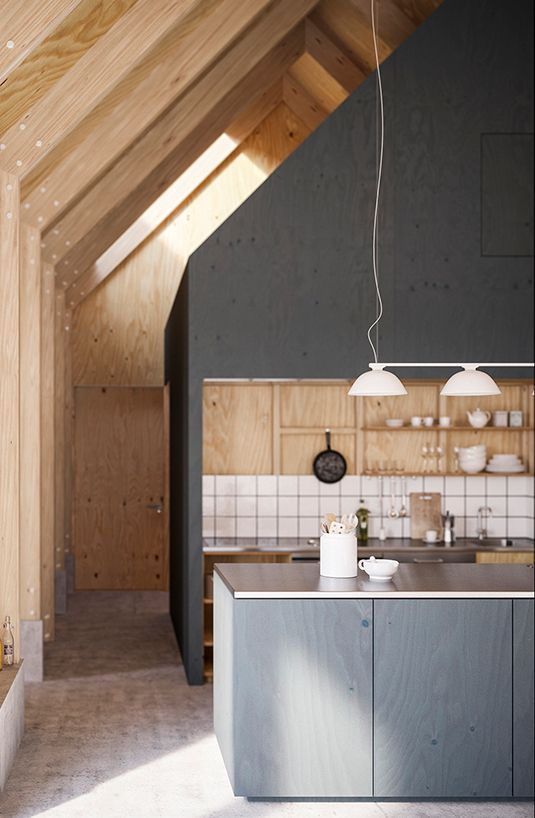 Grey + wood kitchen