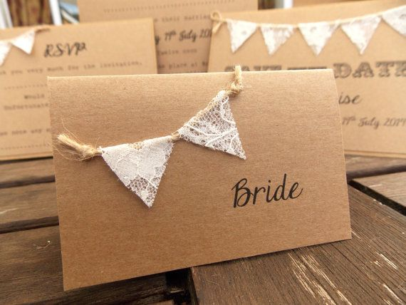 Rustic Wedding Place Card / Escort Cards - Lace Bunting - Vintage Rustic lace mini Bunting on recycled Kraft card on Etsy, $2.06