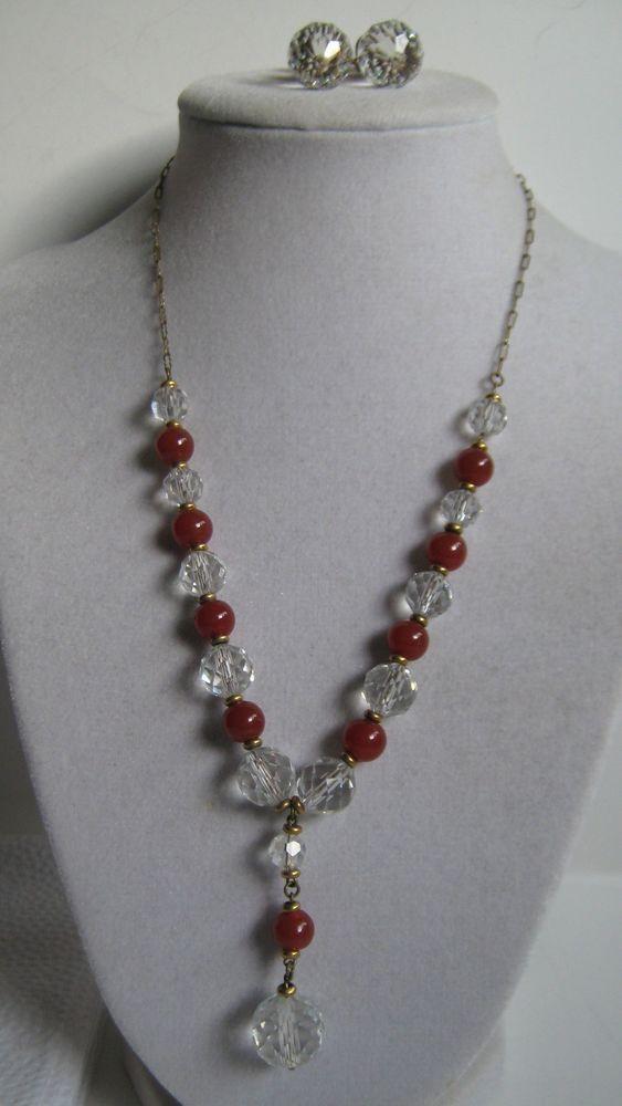 Antique Art Deco Lead Crystal Carnelian Bead Drop Necklace Earrings Stunning | eBay