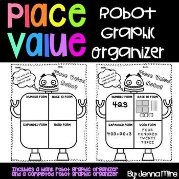 This Place Value Robot Graphic Organizer is the perfect way to gives your students practice showing numbers in different ways.The graphic organizer allows students to show a number in word form, base ten form, expanded form,and number form.Develop a strong number sense with this fun robot themed printables!