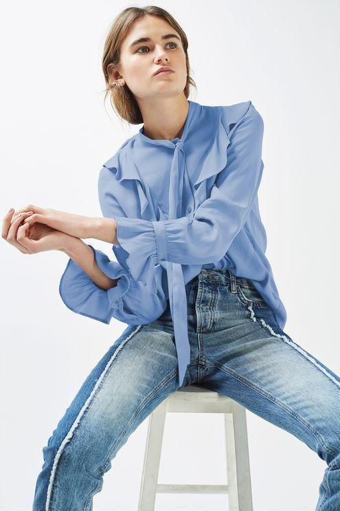 Blue Jacquard Spot Ruffle Shirt