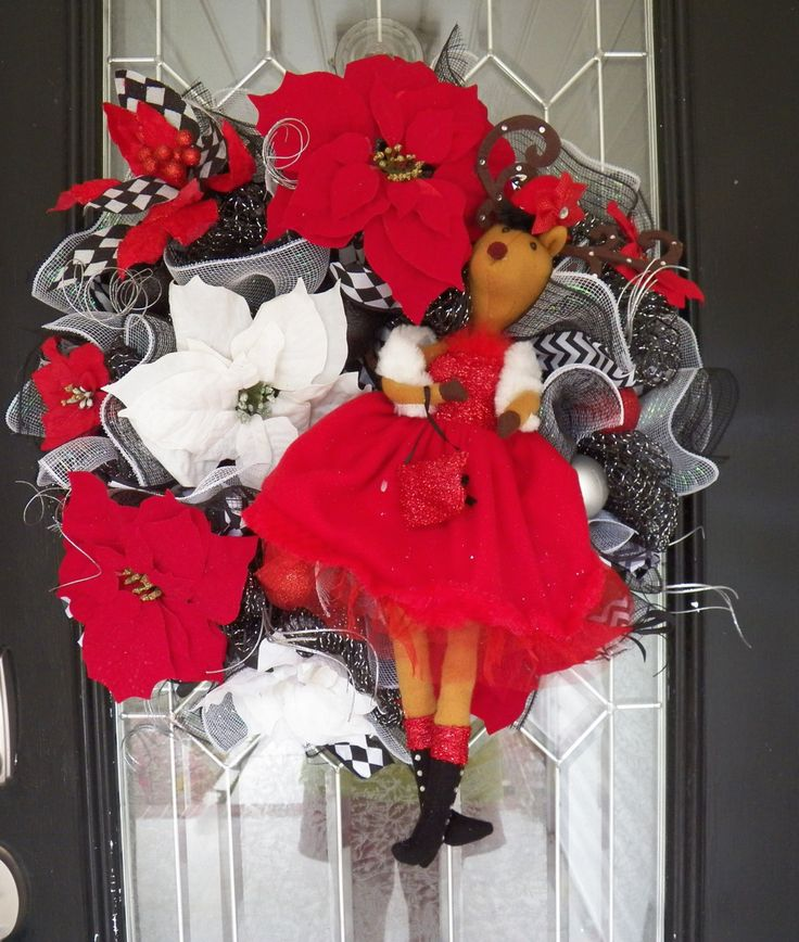 Deluxe Christmas Wreath, Christmas Decoration, Christmas Door Hanger, Holiday Wreaths, Front door wreaths, Deco Mesh Wreath, Ready to Ship by OccasionsBoutique on Etsy