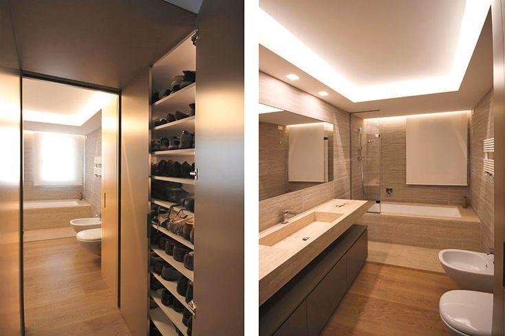 Su misura sono stati progettati anche i bagni e tutta la zona notte, e uno studio particolarmente attento in tutta casa è stato quello dell'illuminazione.
