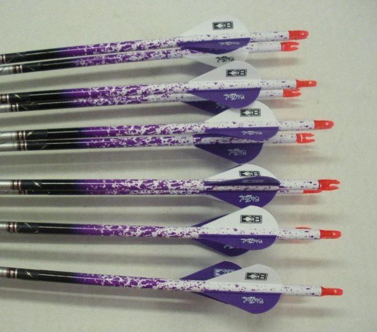 Easton Aftermath 400 Carbon Arrows w/Blazer Vanes Purple Spray Wraps 1 Dz. #Easton