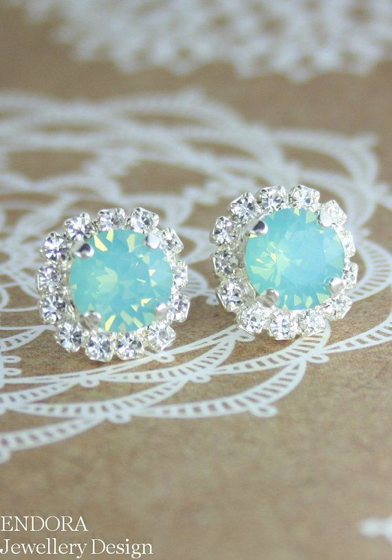 Aquamint seafoam wedding   Seafoam crystal earring   Bridesmaid earrings   #EndoraJewellery
