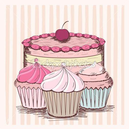 cartão vintage com cupcakes — Ilustração Stock #19160335 ...