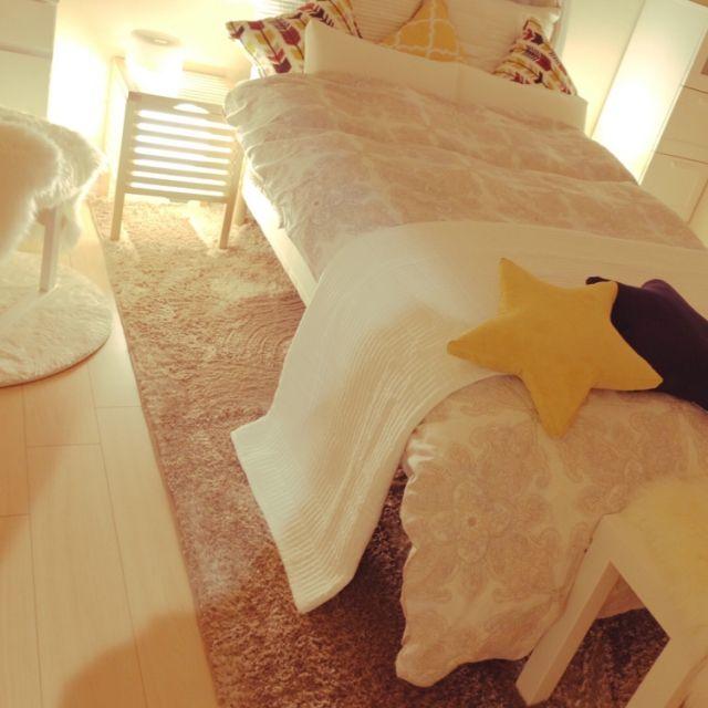 HOME1109さんの、ナチュラル,清潔感,IKEA,北欧,DIY,ニトリ,間接照明,サイドボード,セミダブル,Star,ベッド周り,のお部屋写真