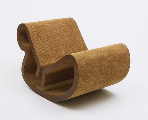 "Easy Edges Body Contour Rocker  Frank O. Gehry (American, born Canada 1929)    1971. Laminated corrugated fiberboard, 26 x 24 3/8 x 41 3/4"" (66 x 61.9 x 106 cm). Manufactured by Easy Edges Inc. Gift of the manufacturer"