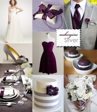 Eggplant and Silver Wedding colors but with dark gray. I loooove these colors together!