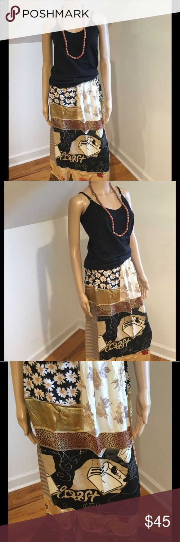 Toast Skirt Totally eclectic toast skirt with toaster and other fun items within the funky black & brown pattern. Pre loved & in new condition. Nothing Matches brand size 2. Be one of a kind in this fab find! No stains & from smoke free environment. Shirt & necklace sold separately. All sales final no returns or exchanges. Thanks for shopping Style Solutions! Nothing Matches Skirts A-Line or Full