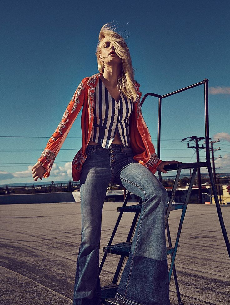 Photographed by Richard Ramos, Jessica Stam poses in looks from the spring collections