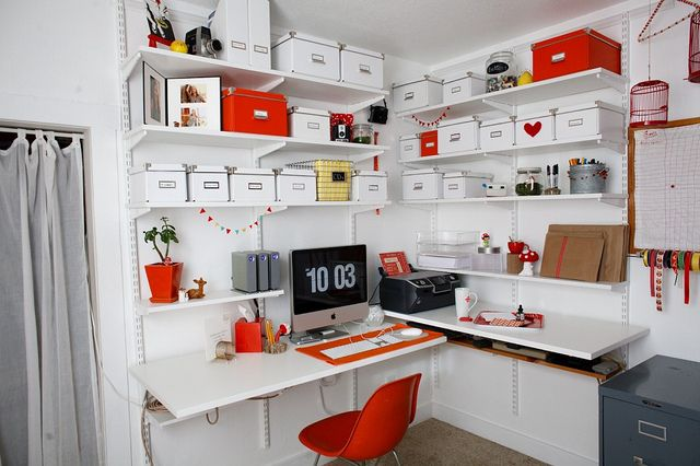 mini shelves UNDER main workspace shelves... and all of those deliciously coordinated boxes. How can you not love?