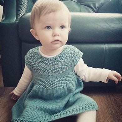 Eileen is Vintage feel little dress. As your baby grows, this will grow from a dress to a tunic.Top down design with a pretty lace pattern on the yoke and skirt.The lace pattern is super easy, great for a beginner.Yarn weightFingering / 4 ply (14 wpi) ? Gauge24 stitches = 4 inchesNeedle sizeUS 4 - 3.5 mmYardage340 - 700 yards (311 - 640 m)Sizes availableSizes- 0-3 months(6 months, 12 months, 18 months, 2T, 3T)