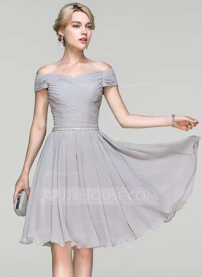 [CA$ 141.73] A-Line/Princess Off-the-Shoulder Knee-Length Chiffon Cocktail Dress With Ruffle Beading