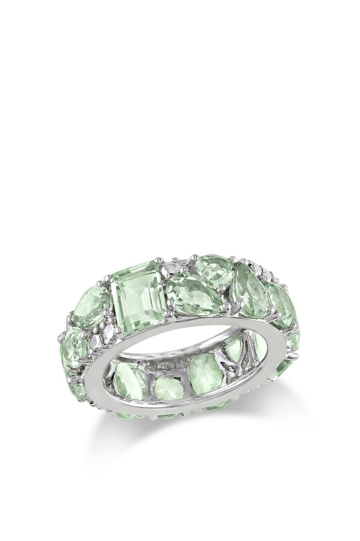 Green Amethyst Eternity Ring