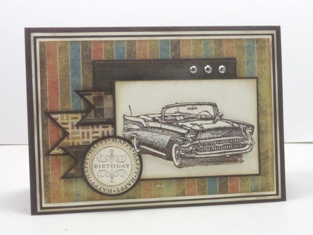 Narelle Farrugia - Stampilicous. SU Stamps: Classic Convertibles (ret.), Happiest Birthday Wishes.  Well Worn dsp (ret.). Challenge - Deconstructed Sketches, Challenge - Stampin Royalty.
