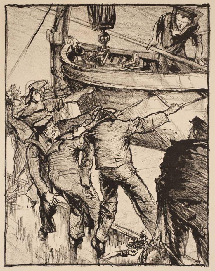 Frank Brangwyn - Making Sailors: Boatdrill - c.1917