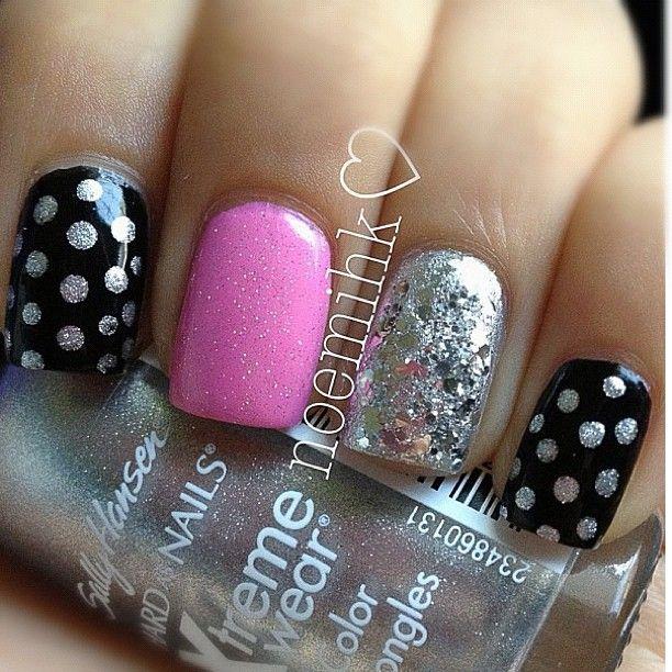 Black w/silver dots, pink, silver glitter