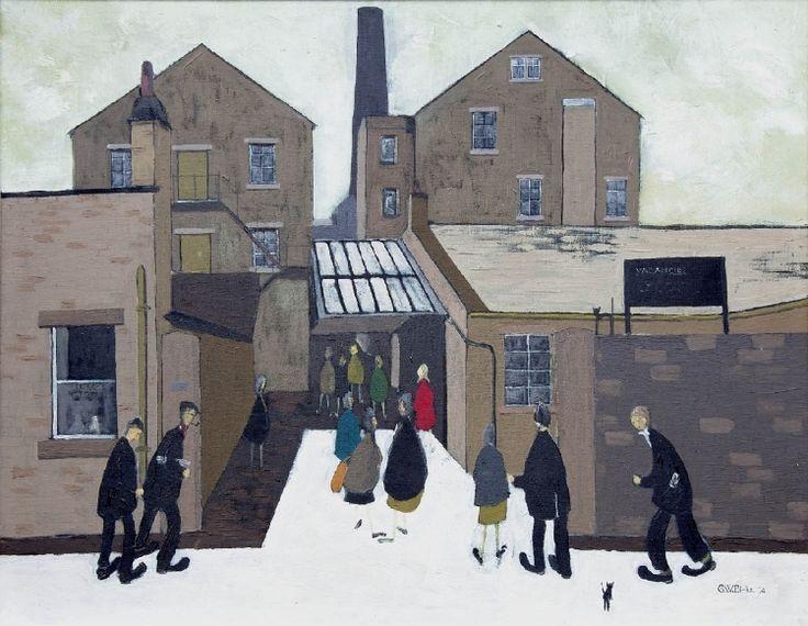 Geoffrey Birks - Figures at a Factory Entrance