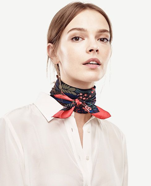 """In refined silk, this night-hued floral scarf beautifully ties your look together. 35"""" x 35""""."""