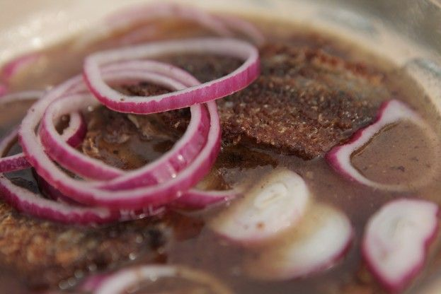 Fried & Pickled Herring from season 1, episode 5 of Tareq Taylor's Nordic Cookery. http://gustotv.com/recipes/lunch/fried-pickled-herring/