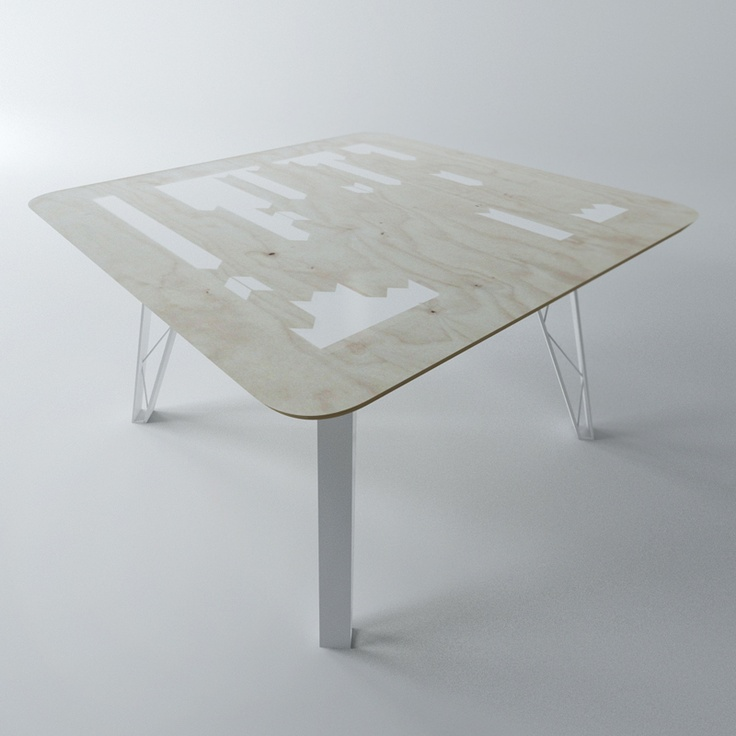 Table Żoliborz table with inley acrylic resin for centre piece. square dimensions 130 x 130 x 76cm