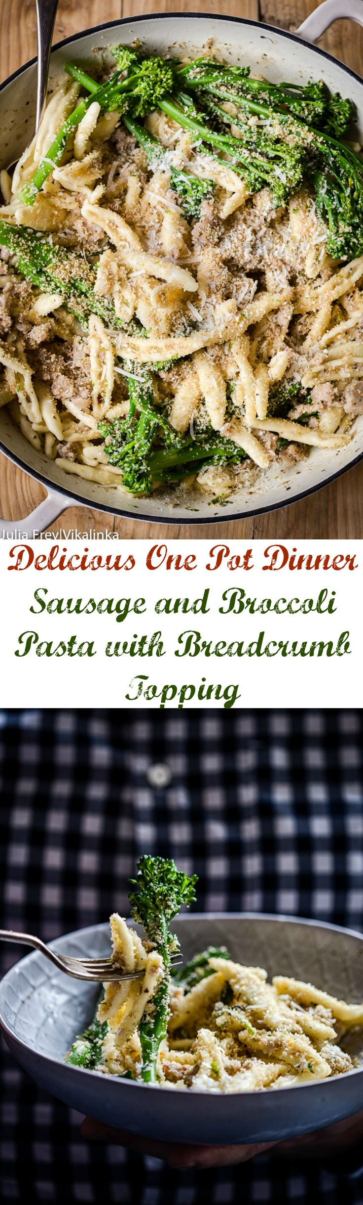 This sausage and broccoli pasta with herb and garlic breadcrumbs is a delicious one pot dinner to keep the whole family happy!