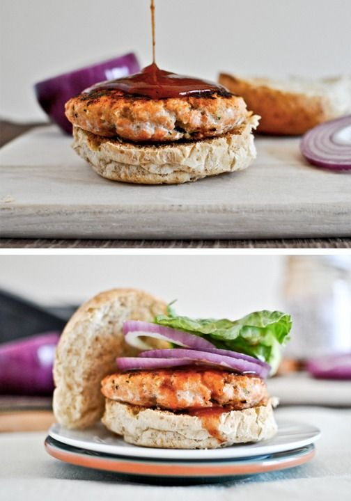 Barbecue Salmon Burgers are packed with flavor and perfect for summertime grilling.