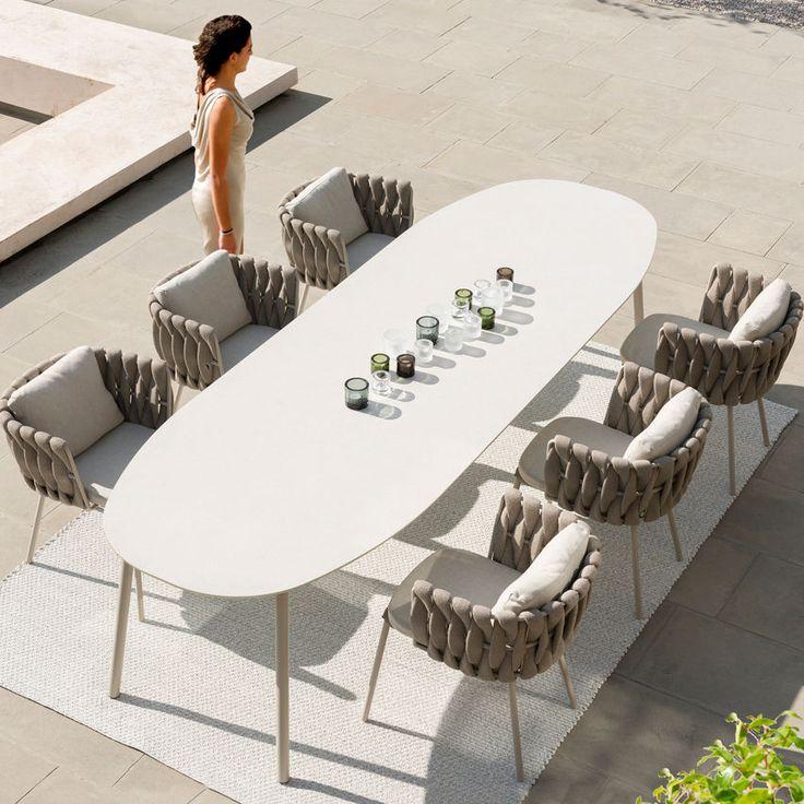 Table céramique ovale d'extérieur contemporain, TOSCA by Monica Armani TRIBÙ