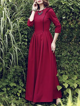 Red Plain Polyester 3/4 Sleeve A-line Maxi Dress