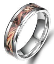 6mm/8mm Tungsten Autumn Leaves Camouflage Inlay Hunting Ring Wedding Engagement Band