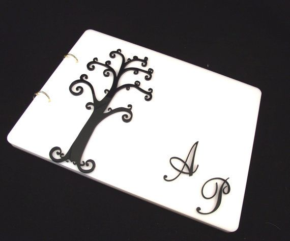 Plexiglass Wedding Guest Book, Minimal 3D Guestbook, Tree of Life Guestbook, Personalized Guestbook, Black & White Contemporary Guestbook