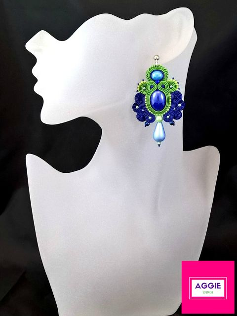 Blue and green soutache earrings