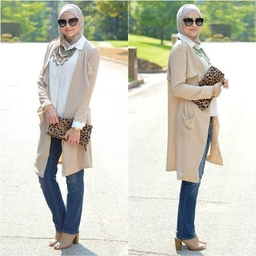 beige long cardigan hijab look