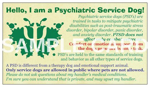 Psychiatric Service Dog Informational Cards by LittleWolfParacord