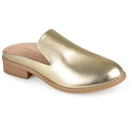 Brinley Co. Womens Slide-on Stacked Heel Faux Leather Mules, Gold