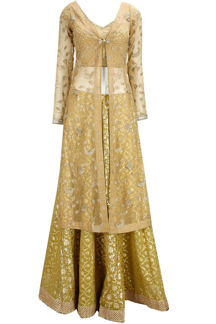 Beige and green zari embroidered lehenga set by Kotwara. Shop now: www.perniaspopups.... #lehenga #designer #kotwara #elegant #clothing #shopnow #perniaspopupshop #happyshopping