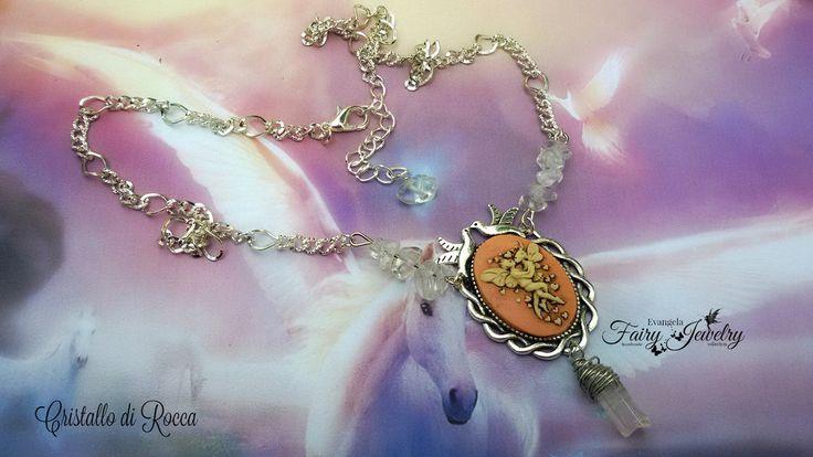 Collana cammeo innamorati bacio romantico cristallo di rocca , by Evangela Fairy Jewelry, 14,00 € su misshobby.com