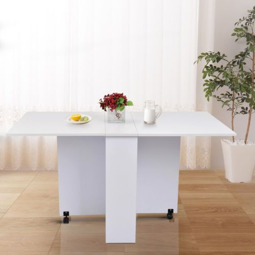 Tavolo Da Cucina Pieghevole Con Ruote.Homcom Tavolo Da Pranzo Pieghevole In Legno Bianco Con Ruote