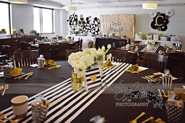 Black, White & Gold Baby Shower Party Ideas | Photo 5 of 15 | Catch My Party