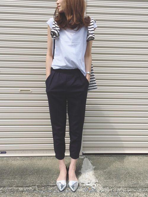AZUL ENCANTOのパンツ「【洗濯機で洗える】ストレッチテーパードイージーパンツ」を使ったSato*のコーディネートです。WEARはモデル・俳優・ショップスタッフなどの着こなしをチェックできるファッションコーディネートサイトです。