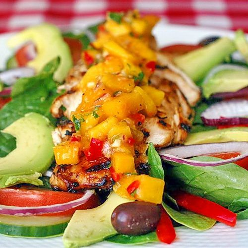 Lime-Cumin Grilled Chicken Salad with Avocado and Mango Salsa