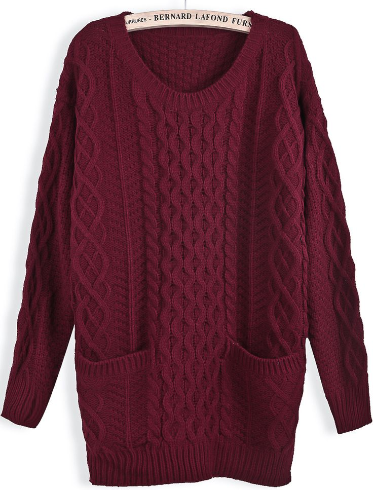 Jersey punto trenza bolsillos manga larga-Rojo vino EUR€24.19
