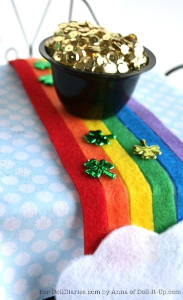 Doll Craft – Rainbow Table Runner and Doll Sized Pot of Gold — Doll Diaries