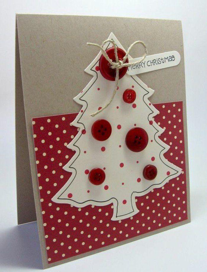 weihnachtskarten basteln diy idee weihnachtsbaum knoepfe