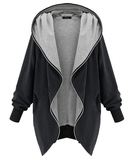 DJT Damen Übergangsjacke Outfit Kapuzenpullover Zipper Hoodie mit Grosse Kapuze Schwarz M