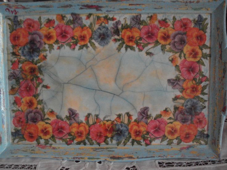 wooden tray with decoupage and crackele