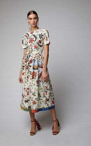 5379b6453e804b Silk Road Print Silk Shirt Dress by Oscar De La Renta SS19